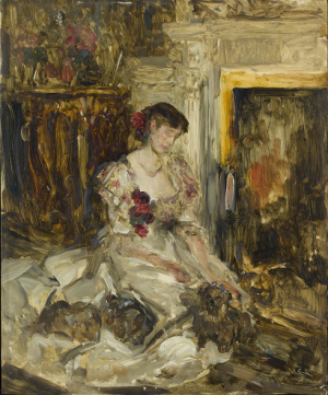 James Jebusa Shannon (1862 - 1923), Lady Barber in the Music Room at Culham Court,1908, oil on board