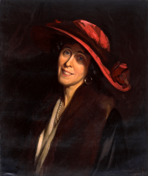 Nestor Cambier (1879-1957), Portrait of Lady Barber in a Red Hat, undated, oil on canvas