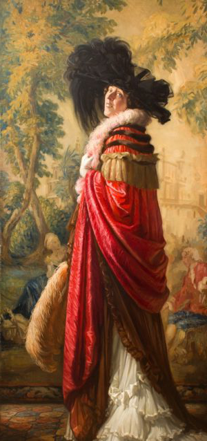 Nestor Cambier (1879 – 1957), Portrait of Lady Barber in a Red Cloak and Large Black Hat , 1919. Oil on canvas, 160. 7x128cm. ©The Henry Barber Trust, the Barber Institute of Fine Arts.